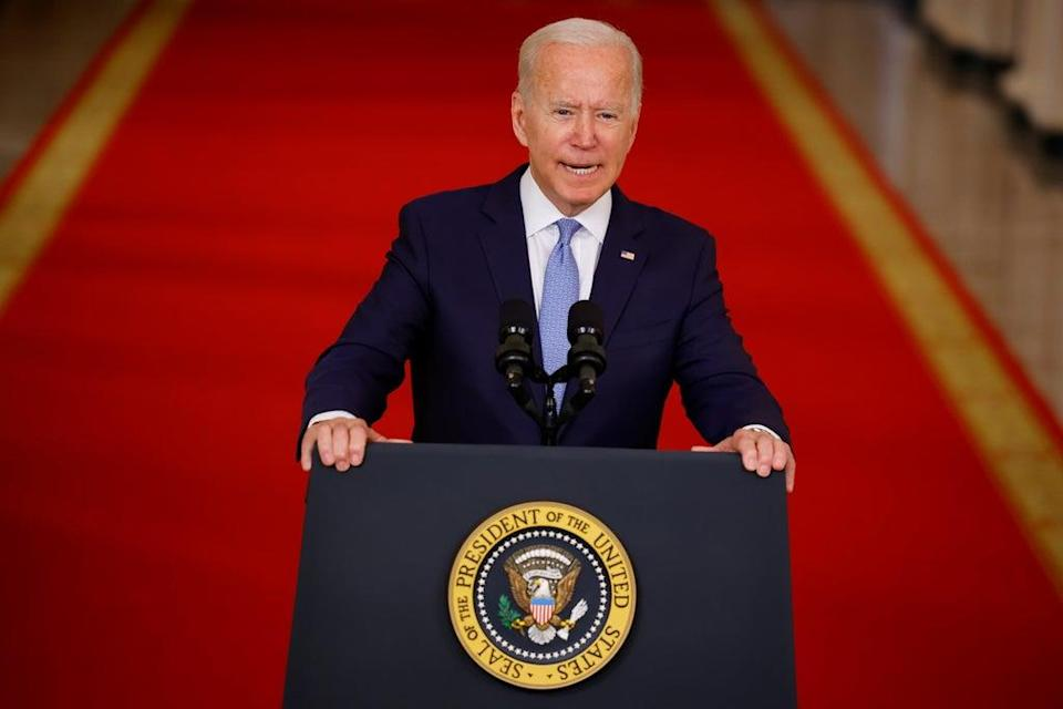 US President Joe Biden delivers remarks on Afghanistan during a speech in the State Dining Room at the White House (Reuters)