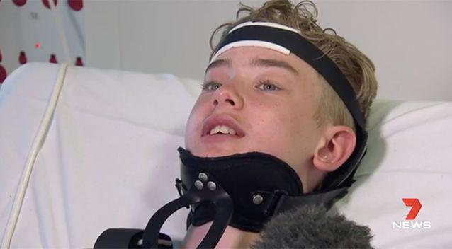 Vincent Davies will have to spend at least six weeks in a neck brace. Source: 7 News