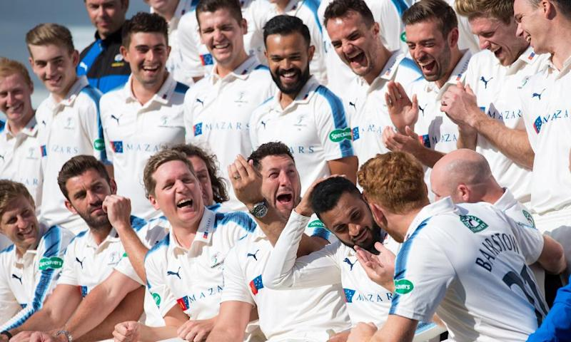 The Yorkshire players share a joke during their team photo ahead of the new season