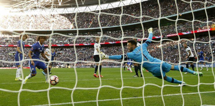 Britain Soccer Football - Tottenham Hotspur v Chelsea - FA Cup Semi Final - Wembley Stadium - 22/4/17 Chelsea's Eden Hazard scores their third goal past Tottenham's Hugo Lloris Action Images via Reuters / John Sibley