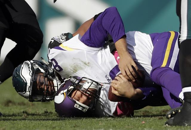 Sunday wasn't a great day for Sam Bradford and the Vikings in Philadelphia. (AP)