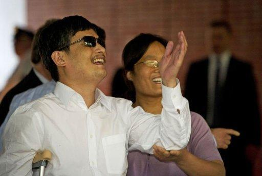 """Blind Chinese activist Chen Guangcheng, pictured on May 19, said Thursday he endured """"suffering beyond imagination"""" at home"""
