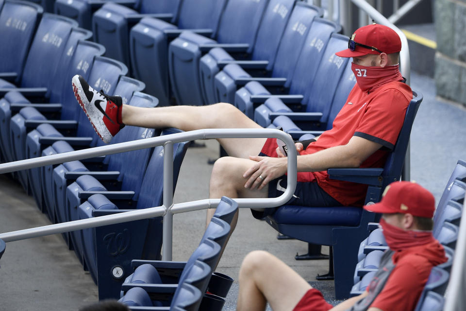 Stephen Strasburg got tossed on his day off. (AP Photo/Nick Wass)