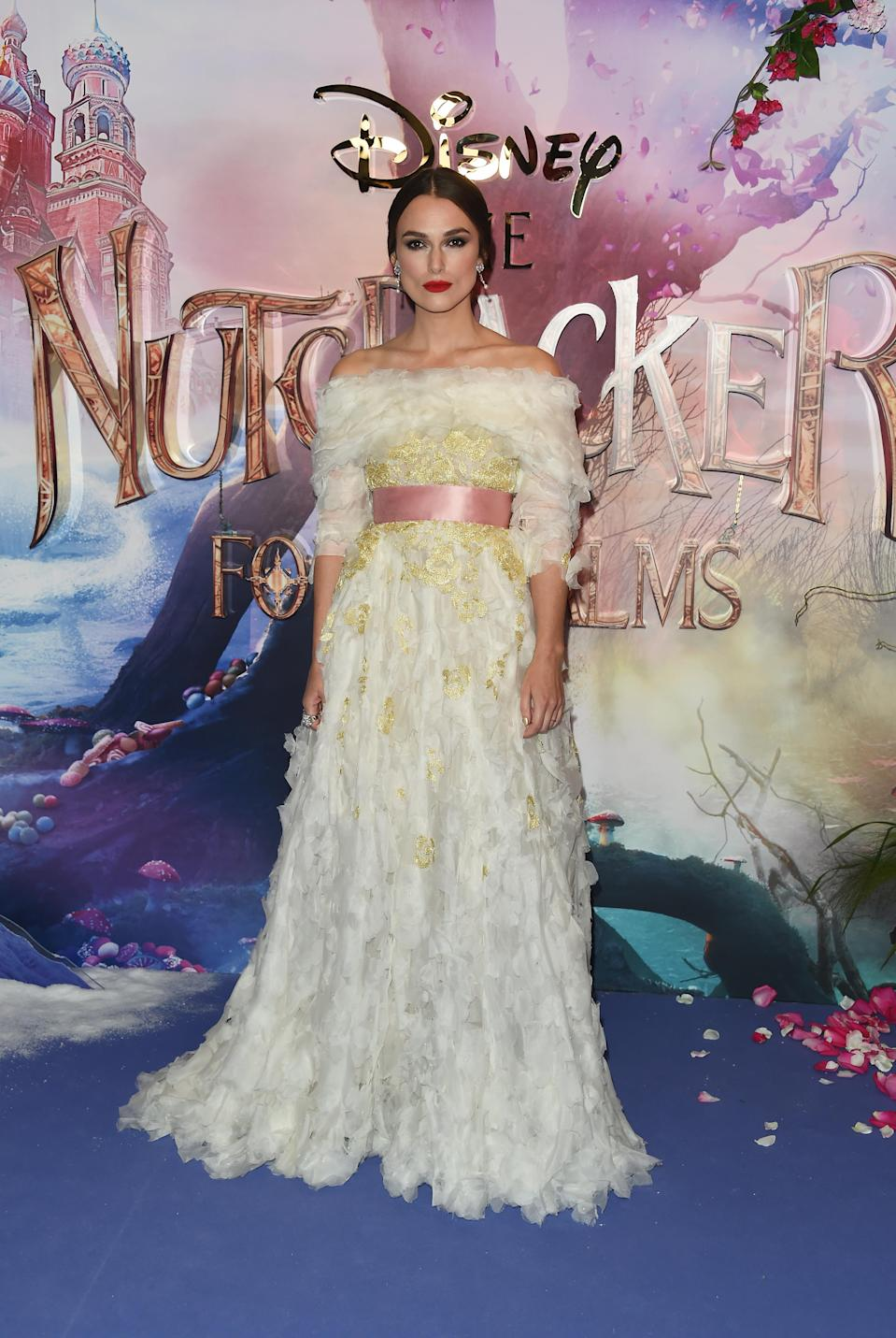 <p>The 33-year-old actress stuck to the fairytale theme in a decadent Chanel gown, complete with bow. <em>[Photo: Getty]</em> </p>
