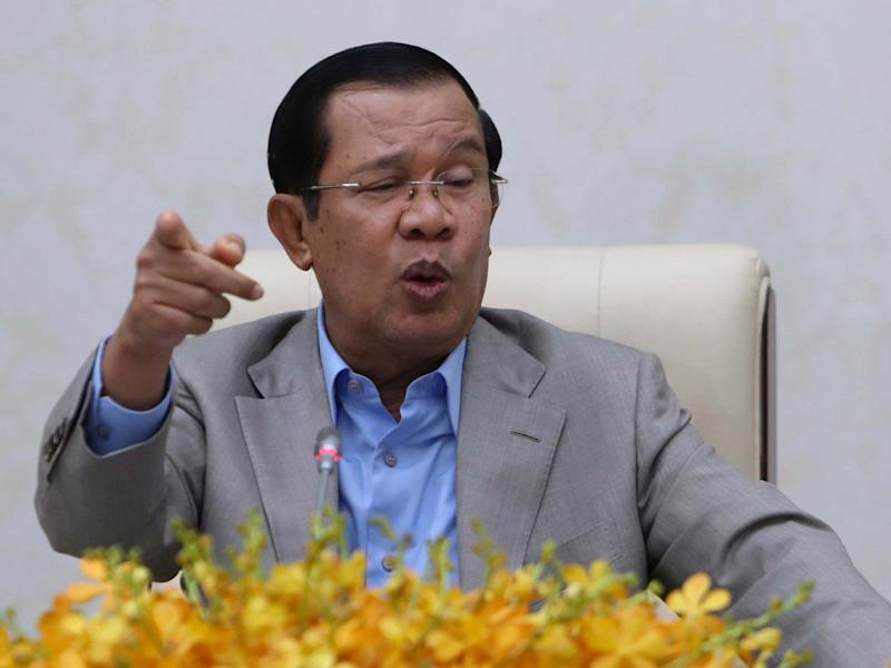 Cambodia's Prime Minister Hun Sen gestures during a speech on the current state of a new virus from China in Phnom Penh: AP