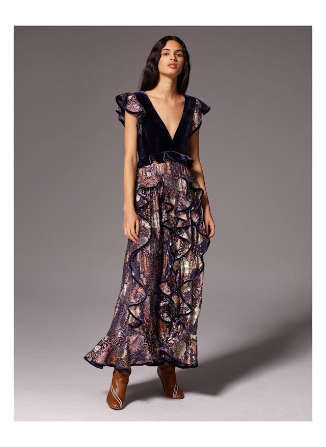 <p>A metallic, ruffled print dress from the Rebecca Taylor FW18 collection. (Photo: courtesy of Rebecca Taylor) </p>