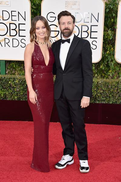 Jason Sudeikis in a tuxedo and Jordans at the 73rd Golden Globe Awards.