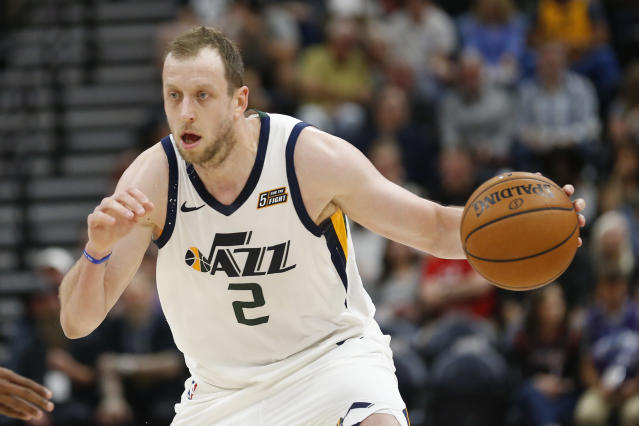 "<a class=""link rapid-noclick-resp"" href=""/nba/players/5393/"" data-ylk=""slk:Joe Ingles"">Joe Ingles</a> has become a fan favorite in Utah. (AP Photo/Rick Bowmer)"