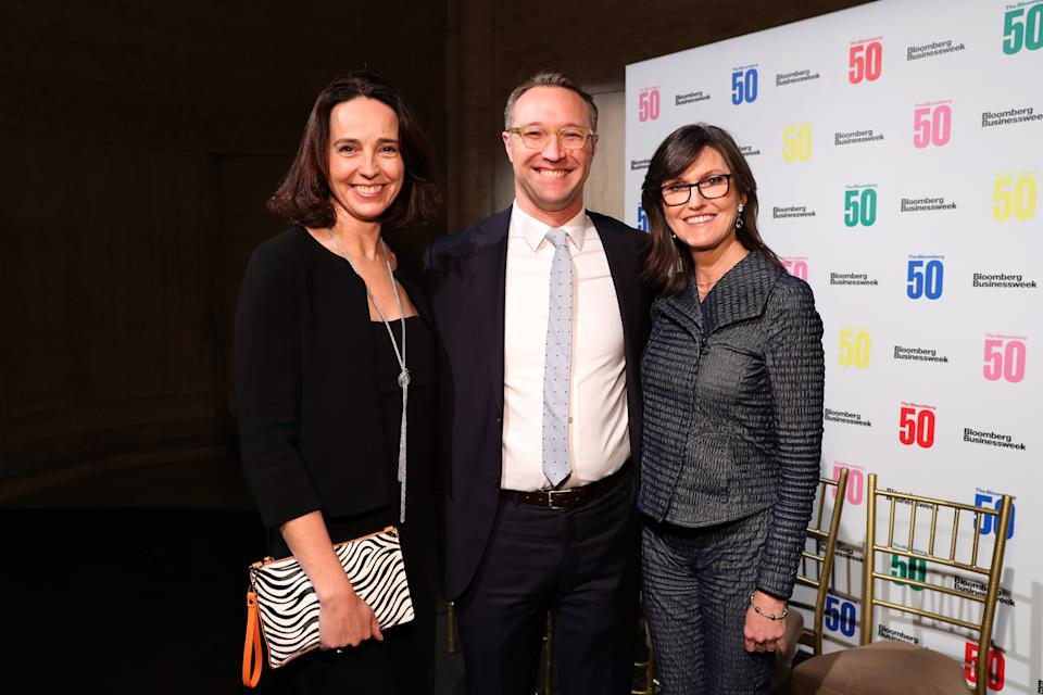 NEW YORK, NY - DECEMBER 10: (L-R) Sarah Friar, Joel Weber, and Cathie Wood attend