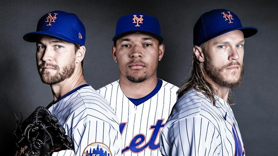 Jacob deGrom, Taijuan Walker, and Noah Syndergaard looking stoic TREATED ART