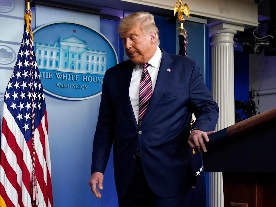 <p>Donald Trump's advisors are said to be quietly discussing how to get him to leave if he loses the election</p> (AP)