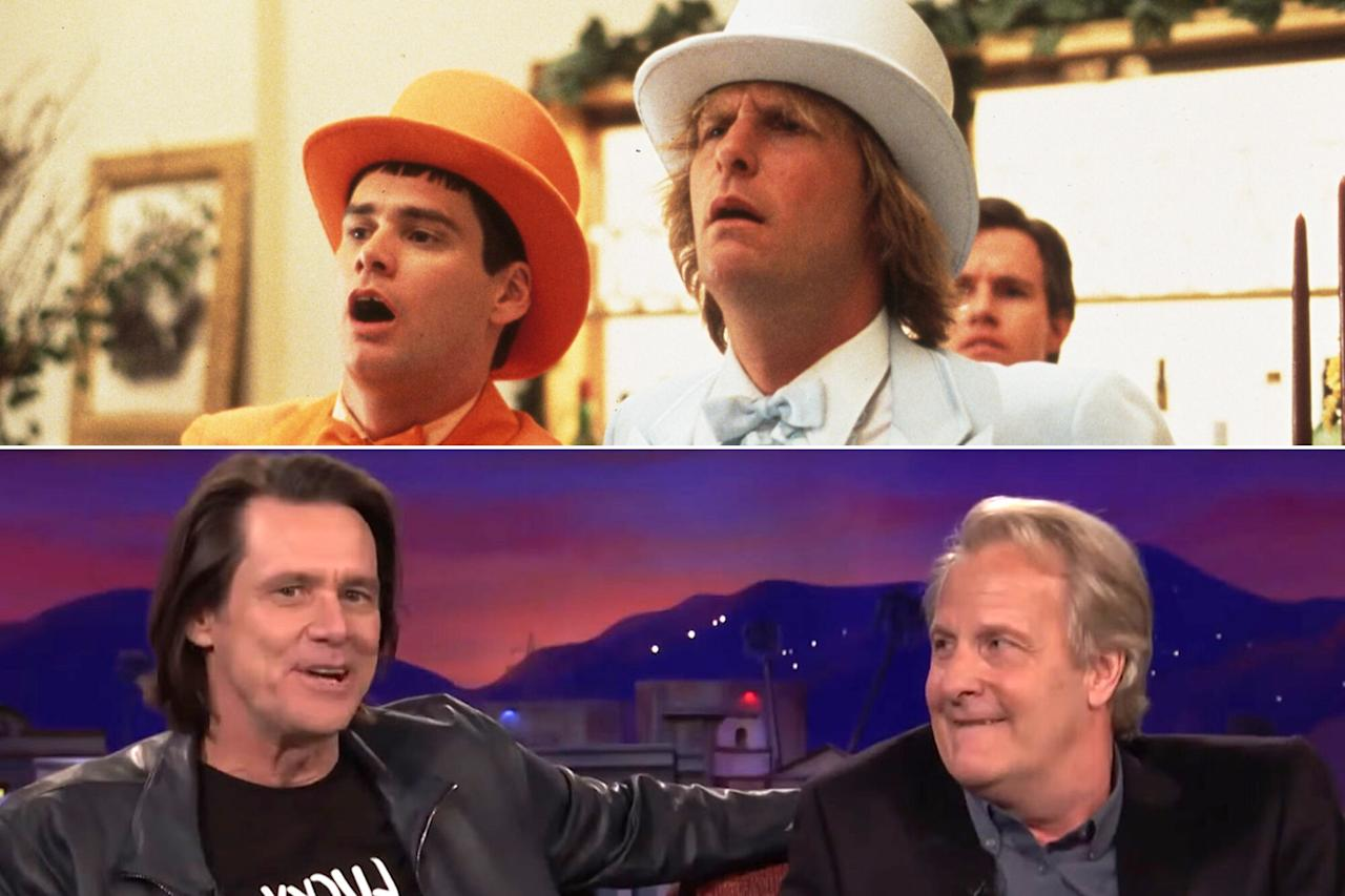 """""""You're in town and you don't call me?! Not an email, nothing!"""" chided Jim Carrey after surprising former <em>Dumb and Dumber</em> costar Jeff Daniels <a href=""""http://people.com/movies/jim-carrey-jeff-daniels-dumb-and-dumber-reunion-conan/"""">by crashing his <em>Conan</em>interview in April 2018</a>. The pals reprised their beloved 1994 bromance in a 2014 sequel, which Carrey admits """"wasn't as 'well received' as the first one."""" Daniels counters, """"F— them!"""""""