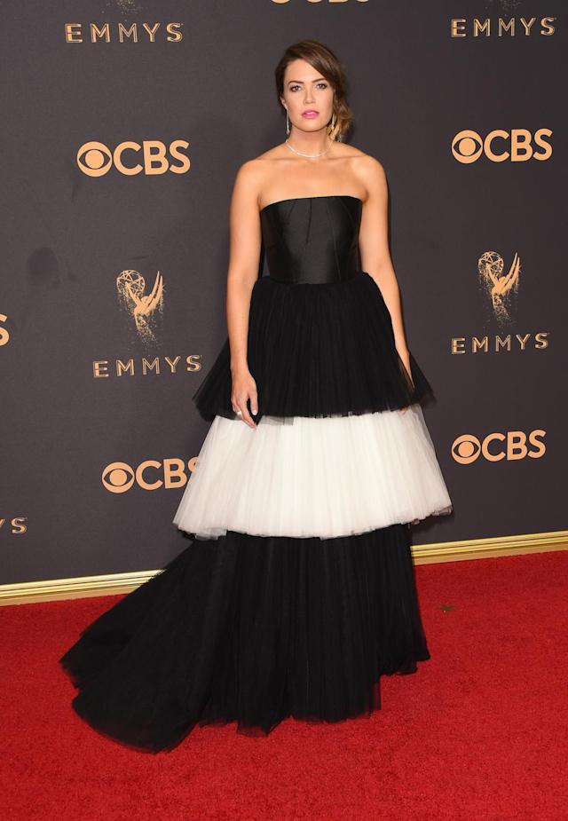 <p>The recently engaged actress looked like a black-and-white cupcake in a tulle Carolina Herrera. (Photo: Getty Images) </p>