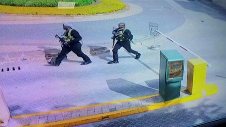 Two of the gunmen are pictured as they made their way into a hotel and office complex in Nairobi, Kenya, January 15, 2019, in this still image taken from a CCTV footage obtained by Reuters TV on January 16, 2019. REUTERS/Reuters TV
