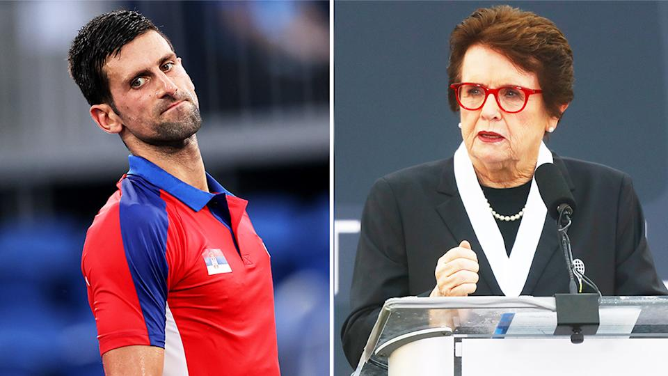 Tennis and equal rights icon Billie Jean King (pictured right) at the tennis hall of fame and (pictured left) Novak Djokovic getting frustrated at the Olympics.