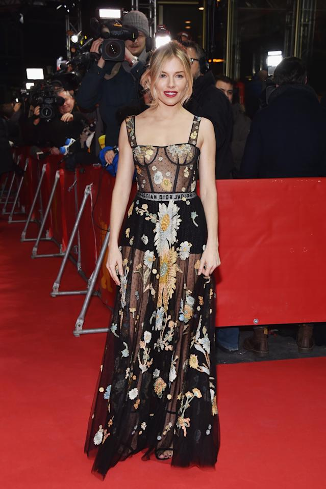 <p>Sienna was simply stunning in one of Dior's now infamous sheer creations. <i>[Photo: Getty]</i> </p>