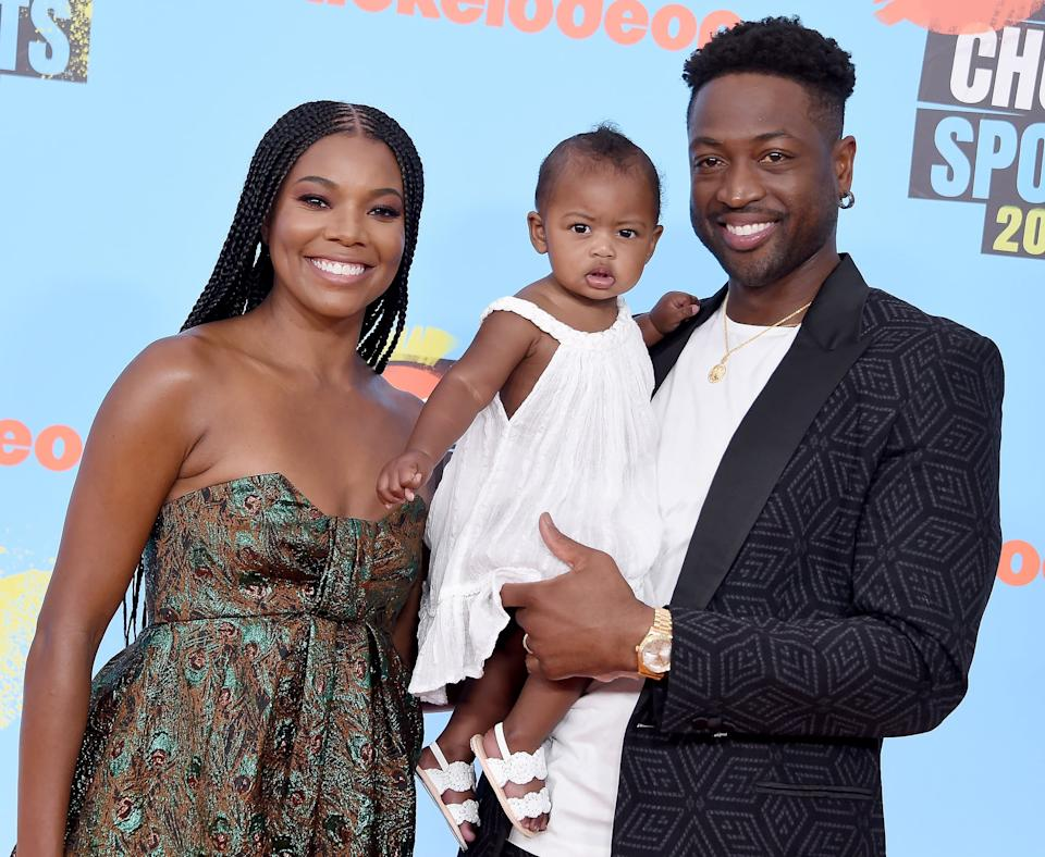 SANTA MONICA, CA - JULY 11: Gabrielle Union, Kaavia James Union Wade, and Dwyane Wade attend Nickelodeon Kids' Choice Sports 2019 at Barker Hangar on July 11, 2019 in Santa Monica, California. (Photo by Gregg DeGuire/WireImage)