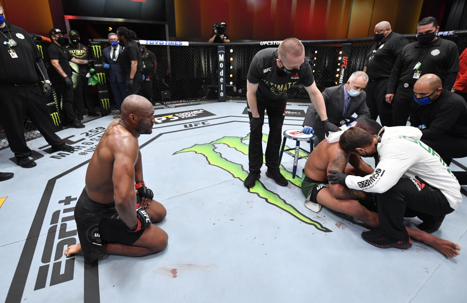 LAS VEGAS, NEVADA - FEBRUARY 13: Kamaru Usman of Nigeria reacts after his victory over Gilbert Burns of Brazil in their UFC welterweight championship fight during the UFC 258 event at UFC APEX on February 13, 2021 in Las Vegas, Nevada. (Photo by Jeff Bottari/Zuffa LLC)
