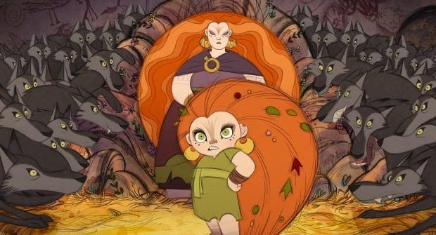 Mebh Óg Mactíre (voiced by Eva Whittaker) and Moll Mactíre (voiced by Maria Doyle Kennedy) in Wolfwalkers.