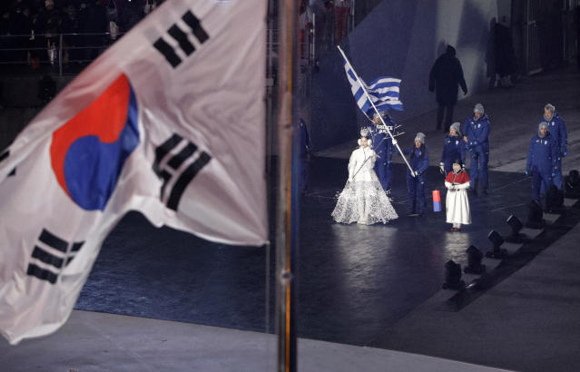 <p>Greece enters the stadium during the opening ceremony of the 2018 Winter Olympics in Pyeongchang, South Korea, Friday, Feb. 9, 2018. (AP Photo/David J. Phillip,Pool) </p>