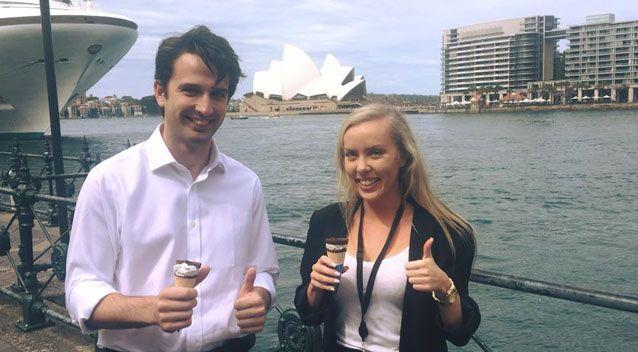 Young Liberals have been slammed after two were photographed eating a Streets ice cream amid the boycott. Photo: Facebook