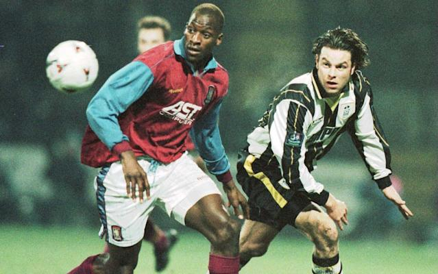 <span>Ehiogu (L) in action for Aston Villa in January 1997</span> <span>Credit: getty images </span>