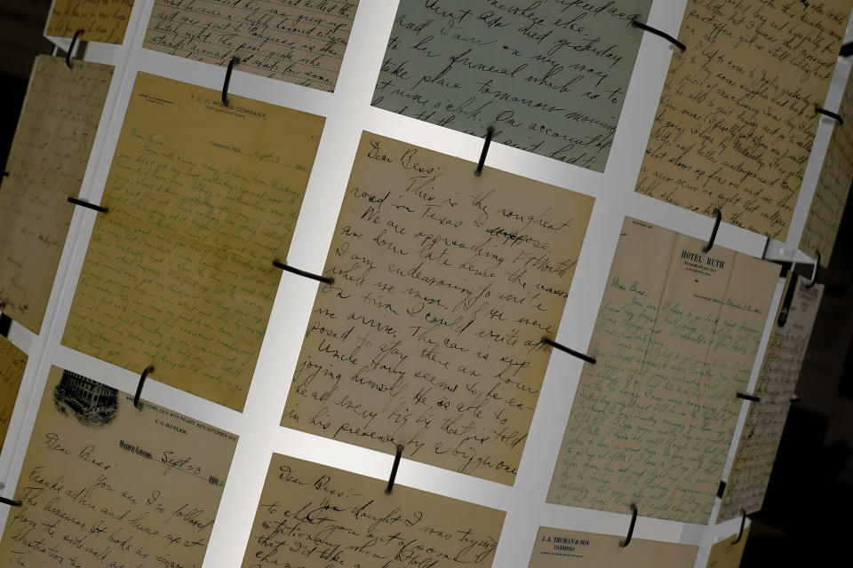 Courtship letters written by Harry S. Truman to Bess Wallace are part of an exhibit about the early life of Truman at the Harry S. Truman Presidential Library and Museum Wednesday, June 9, 2021, in Independence, Mo. The facility will reopen July 2 after a nearly $30 million renovation project. (AP Photo/Charlie Riedel)