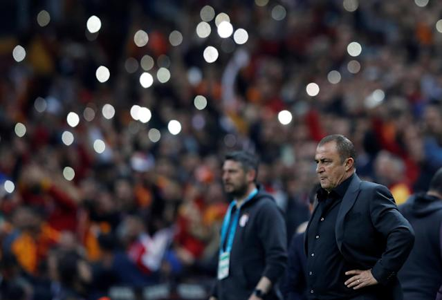 Soccer Football - Turkish Super League - Galatasaray vs Basaksehir - Turk Telekom Arena, Istanbul, Turkey - April 15, 2018 Galatasaray coach Fatih Terim looks on REUTERS/Murad Sezer