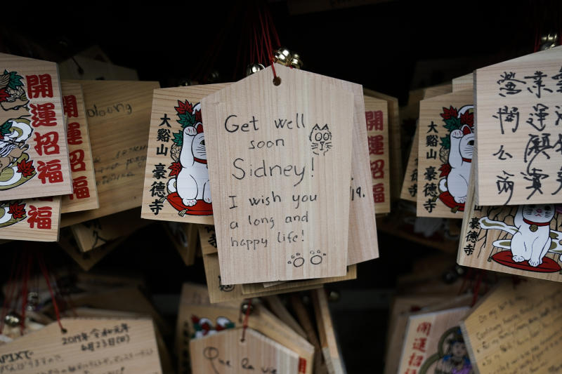 In this July 2, 2019, photo, a prayer is written on a wooden panel donned with an image of a beckoning cat at Gotokuji Temple in Tokyo. According to a centuries-old legend provided by the temple, Gotokuji, a Buddhist temple located in the quiet neighborhood of Setagaya, is the birthplace of beckoning cats, the famous cat figurines that are widely believed to bring good luck and prosperity to home and businesses. Some visitors come just to snap a few photos, while others make a trip to the temple to pray and make wishes. (AP Photo/Jae C. Hong)