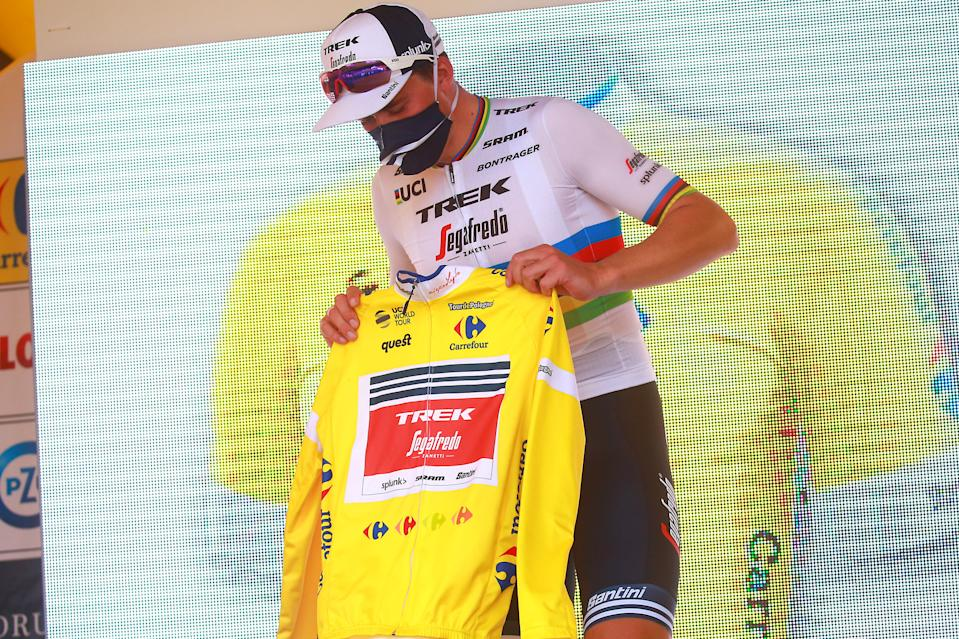 Mads Pedersen with the race leader's jersey