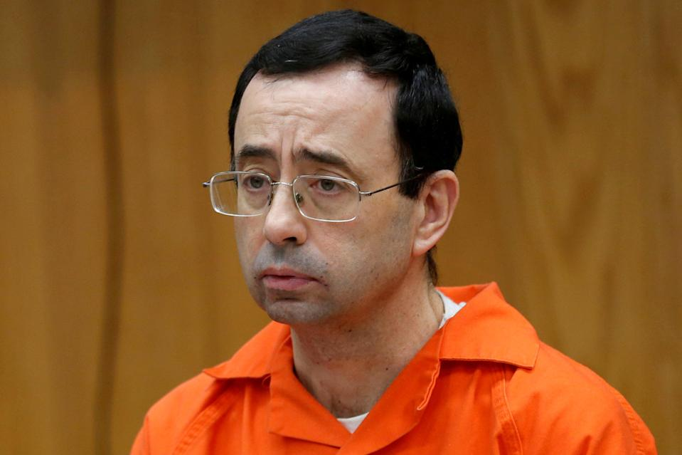 Larry Nassar, a former team USA Gymnastics doctor who pleaded guilty in November 2017 to sexual assault, listens to victims during his sentencing in the Eaton County Circuit Court in Charlotte, Michigan, U.S., January 31, 2018. (Reuters)