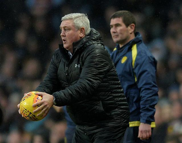 "Soccer Football - Championship - Aston Villa vs Burton Albion - Villa Park, Birmingham, Britain - February 3, 2018 Aston Villa manager Steve Bruce and Burton Albion manager Nigel Clough Action Images/Alan Walter EDITORIAL USE ONLY. No use with unauthorized audio, video, data, fixture lists, club/league logos or ""live"" services. Online in-match use limited to 75 images, no video emulation. No use in betting, games or single club/league/player publications. Please contact your account representative for further details."
