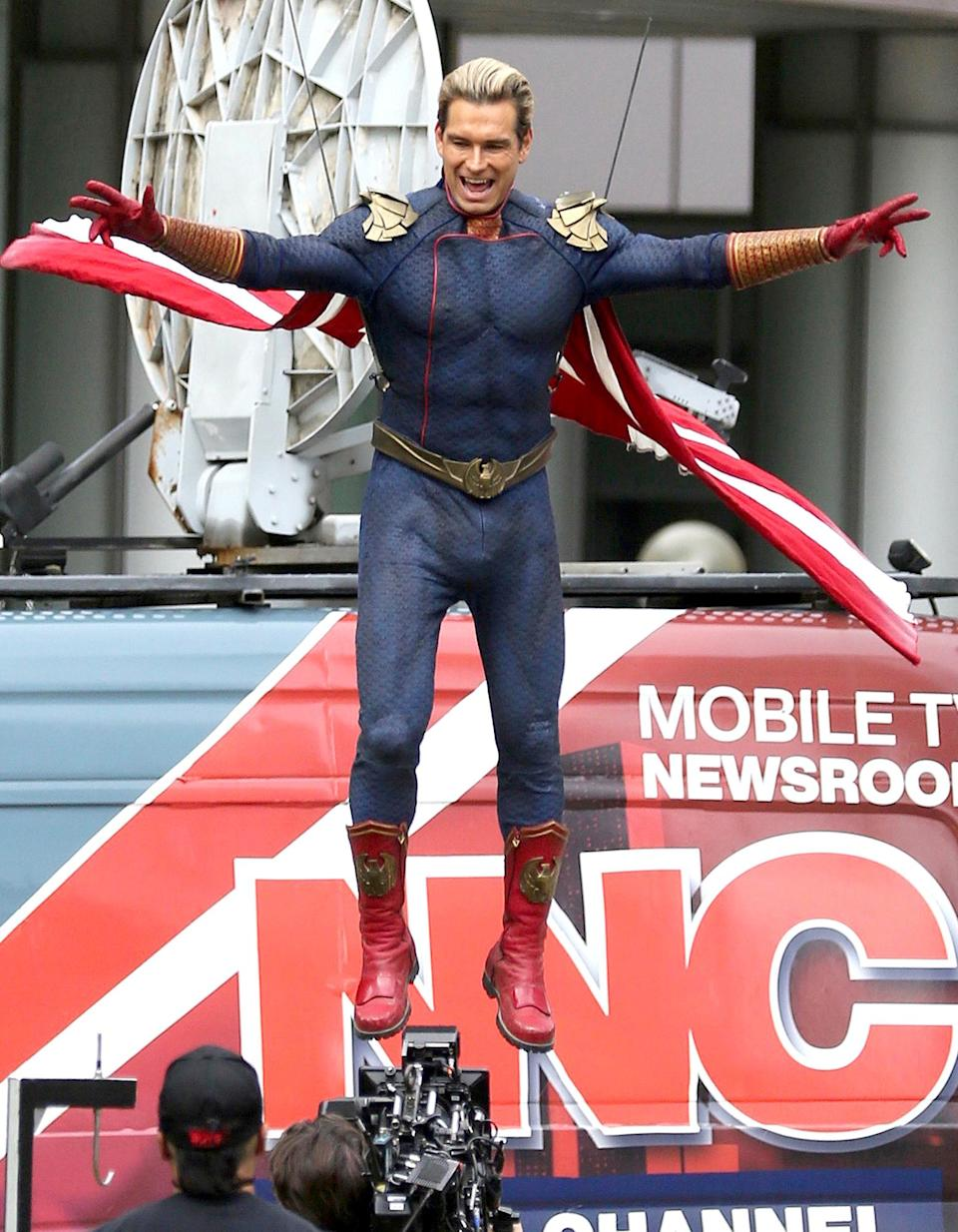 <p>Antony Starr is seen dressed as his character Homelander on the set of <em>The Boys</em> in Toronto on Sept. 1.</p>