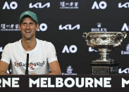Serbia's Novak Djokovic answers questions, Monday Feb. 22, 2021, during a press conference after defeating Russia's Daniil Medvedev in the men's singles final at the Australian Open tennis championship in Melbourne, Australia, Sunday, Feb. 21, 2021.(Vince Caligiuri/Tennis Australia via AP)