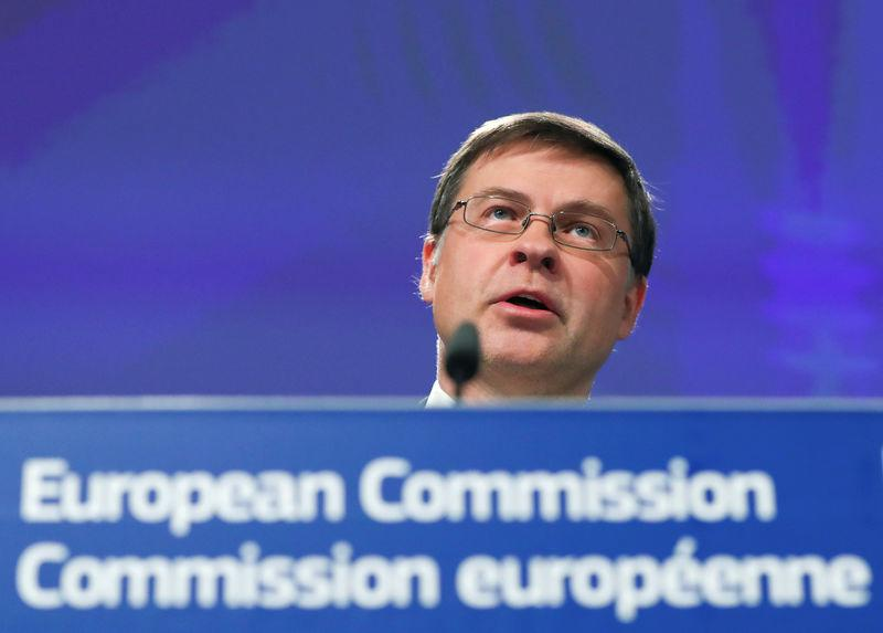 European Commission Vice-President Valdis Dombrovskis attends a news conference in Brussels