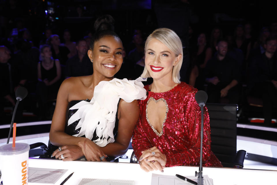 """AMERICA'S GOT TALENT -- """"Live Finals"""" Episode 1422 -- Pictured: (l-r) Gabrielle Union, Julianne Hough -- (Photo by: Trae Patton/NBCU Photo Bank/NBCUniversal via Getty Images via Getty Images)"""