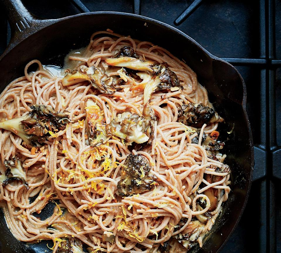 "Chef Philip Krajeck serves a similar dish at Rolf and Daughters in Nashville; his hazelnut broth adds a clever layer of flavor. <a href=""https://www.bonappetit.com/recipe/farro-spaghetti-mushrooms-hazelnuts?mbid=synd_yahoo_rss"" rel=""nofollow noopener"" target=""_blank"" data-ylk=""slk:See recipe."" class=""link rapid-noclick-resp"">See recipe.</a>"