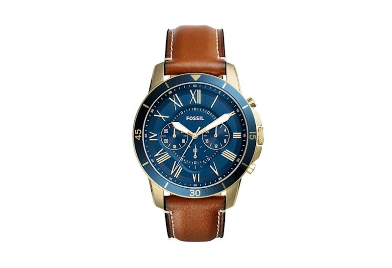 Fossil Men's Grant Sport Stainless Steel and Leather Chronograph Quartz Watch. (Photo: Amazon)