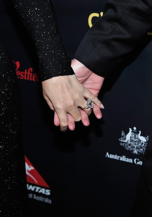 He gave her the rock last January. Source: Getty