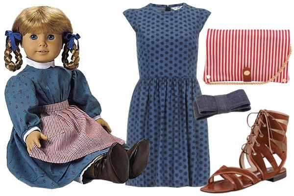 """<div class=""""caption-credit""""> Photo by: Courtesy of American Girl</div><b>Kirsten Larson</b> (1854) - Kirsten's also been retired, but her two looped braids live on (at least in our beauty files). Her day dress was a hand-me-down from Lisbeth, her cousin, and its silhouette was standard for the 1850's, though we still love the vibe of a crisp, white peter pan collar. Work Kirsten's blue-and-brown palette, and offset it with a red and white purse, unless, of course, you're as admirably responsible as Kirsten, and would put an apron to good use. <br> <br>"""