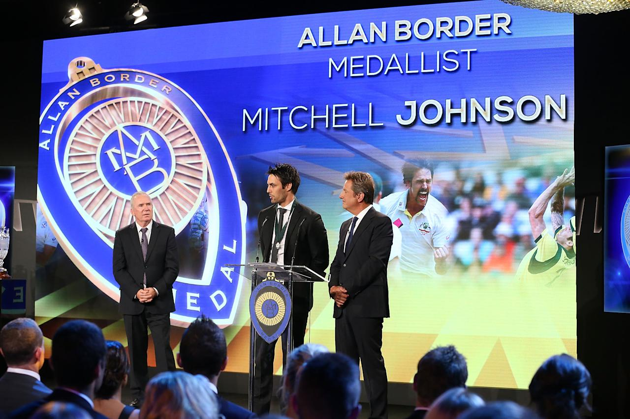 SYDNEY, AUSTRALIA - JANUARY 20:  Mitchell Johnson speaks on stage after winning the Allan Border Medal during the 2014 Allan Border Medal at Doltone House on January 20, 2014 in Sydney, Australia.  (Photo by Mark Metcalfe/Getty Images)