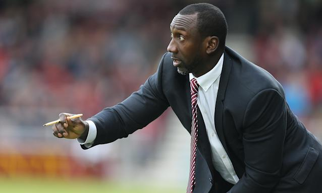 Jimmy Floyd Hasselbaink gets his views across during Northampton Town's League One win over Doncaster Rovers at Sixfields.