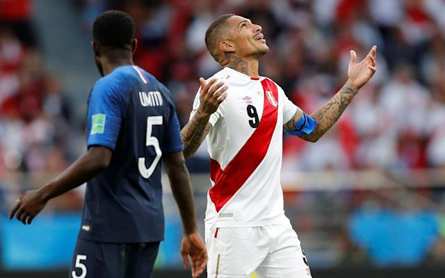 Peru's Paolo Guerrero reacts as he's show a yellow card during France vs Peru -How Paolo Guerrero's desperation led to Peru's downfall - REUTERS