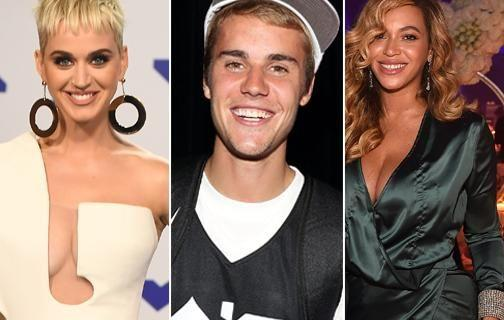 Katy Perry, Justin Bieber and Beyonce all snagged spots on the top 10 most dangerous celebrities to search on the internet. Source: Getty