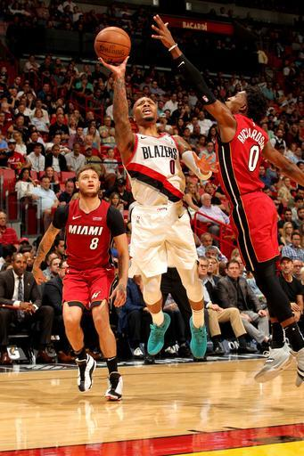 MIAMI, FL - OCTOBER 27: Damian Lillard #0 of the Portland Trail Blazers shoots the ball against the Miami Heat on October 27, 2018 at American Airlines Arena in Miami, Florida. (Photo by Oscar Baldizon/NBAE via Getty Images)