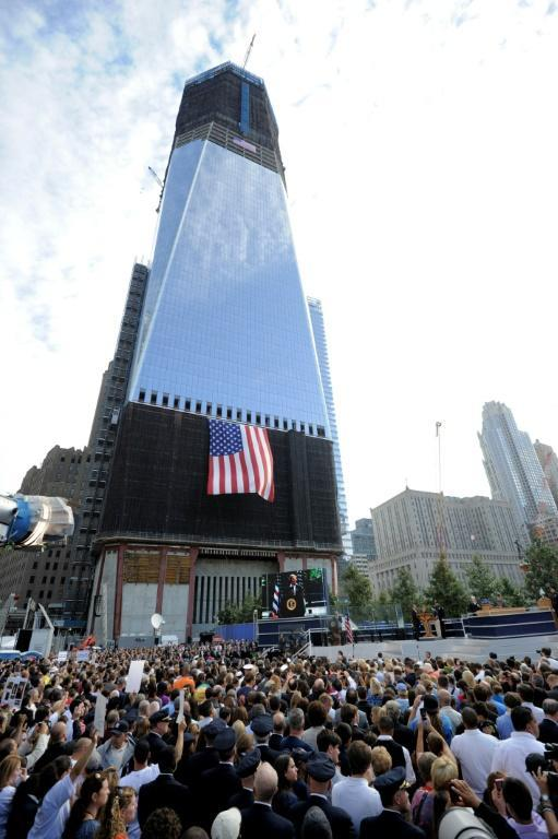 The One WTC under construction on September 11, 2011 (AFP/STAN HONDA)