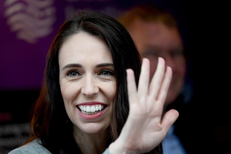 New Zealand Prime Minister Jacinda Ardern waves during a visit to Sustainable Coastlines at the Flagship on September 27, 2020 in Auckland, New Zealand. (Photo: Hannah Peters via Getty Images)