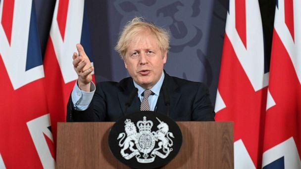 PHOTO: British Prime Minister Boris Johnson holds a news conference in Downing Street on the outcome of the Brexit negotiations, in London, Dec. 24, 2020. (Paul Grover/Pool via Reuters)
