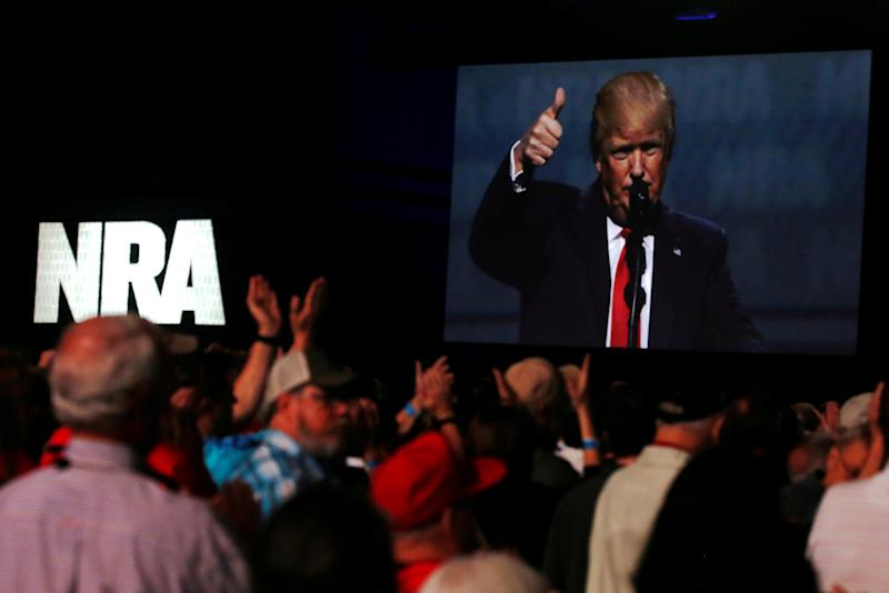 <strong>Donald Trump addresses the NRA's Leadership Forum in Atlanta, Georgia in April</strong> (Jonathan Ernst / Reuters)