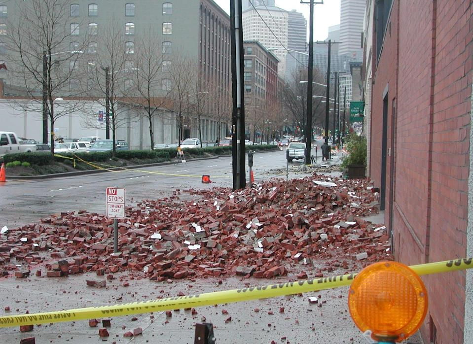 """<span class=""""caption"""">Seattle earthquake damage is seen in 2001. </span> <span class=""""attribution""""><span class=""""source"""">Seattle Municipal Archives.</span>, <a class=""""link rapid-noclick-resp"""" href=""""http://creativecommons.org/licenses/by-sa/4.0/"""" rel=""""nofollow noopener"""" target=""""_blank"""" data-ylk=""""slk:CC BY-SA"""">CC BY-SA</a></span>"""